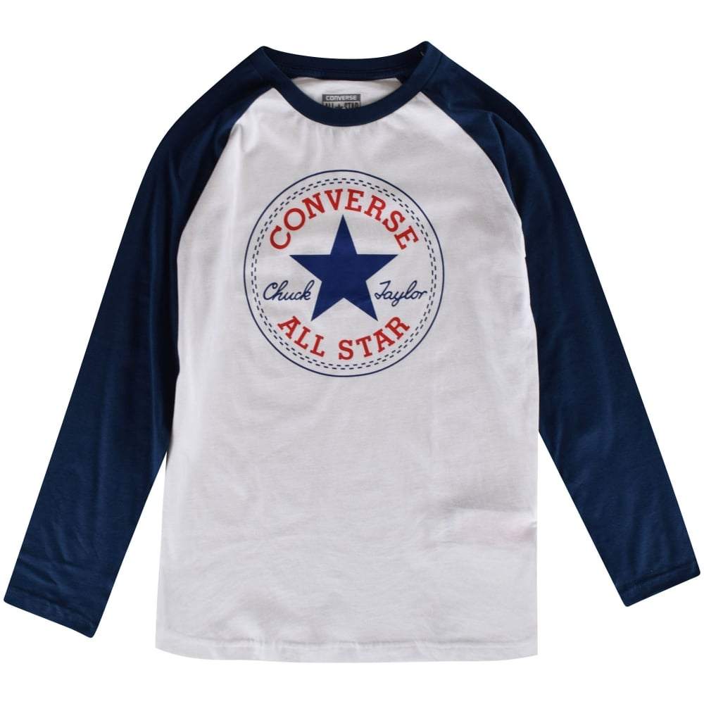 a745d8cfb5c7 CONVERSE JUNIOR Converse Boys White Navy Long Sleeved T-Shirt ...