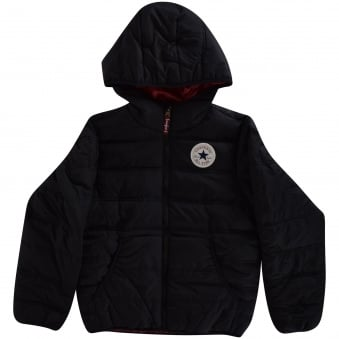 Converse Junior Black Hooded Puffer Jacket
