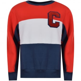 Converse Junior C Red/Navy/White Colour Block Sweatshirt