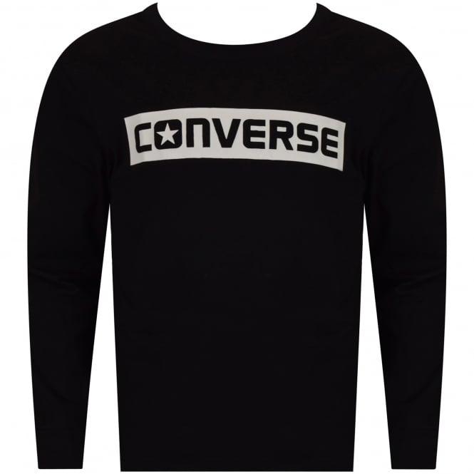 188f87f1be2d CONVERSE JUNIOR Converse Boys Black Print Long Sleeve T-Shirt ...