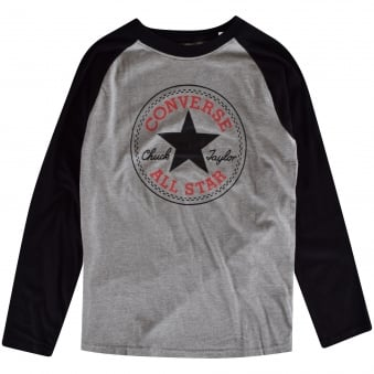 Converse Boys Grey/Black Long Sleeved T-Shirt
