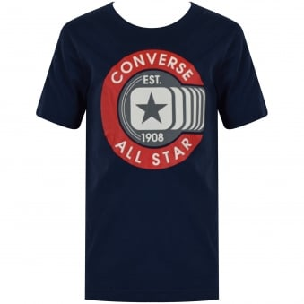 Converse Junior Navy Large Badge Print T-Shirt