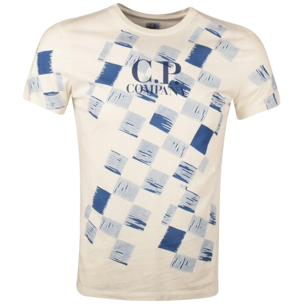 C p company cp company white blue check print t shirt for Print company t shirts