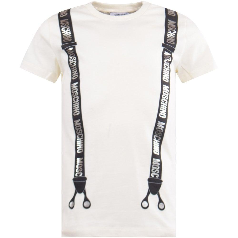 Moschino Teen Cream Black Braces Printed T Shirt Junior From