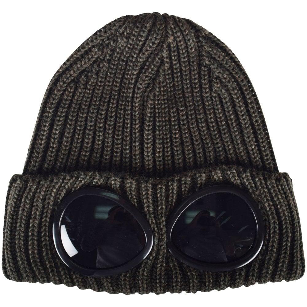 d1e0d3e0b C.P. COMPANY Dark Olive Goggle Beanie Hat