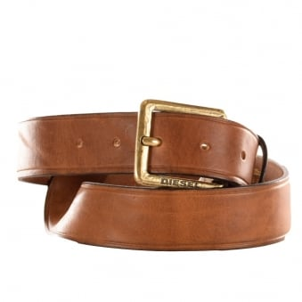 Diesel Batrei Mens Dark Tan Leather Belt