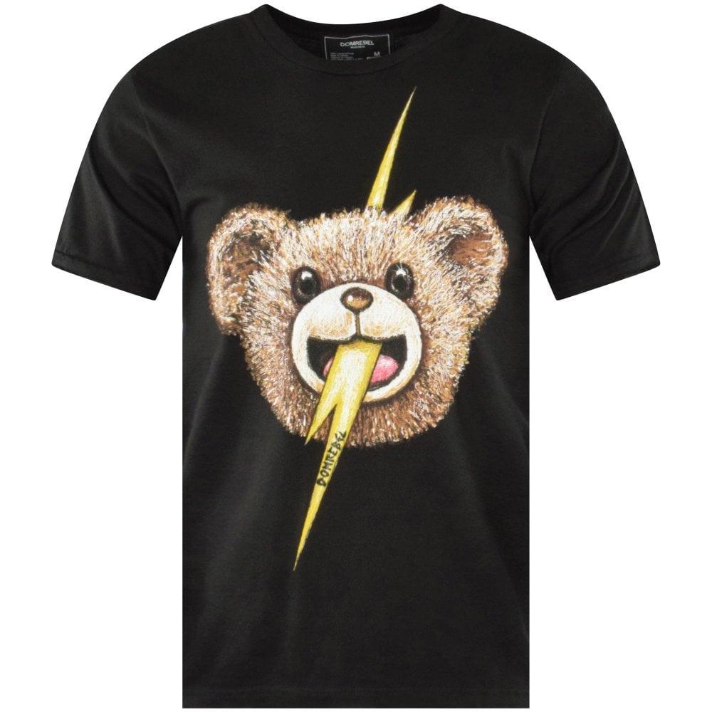 domrebel printed black tshirt teddy bear lightning bolt