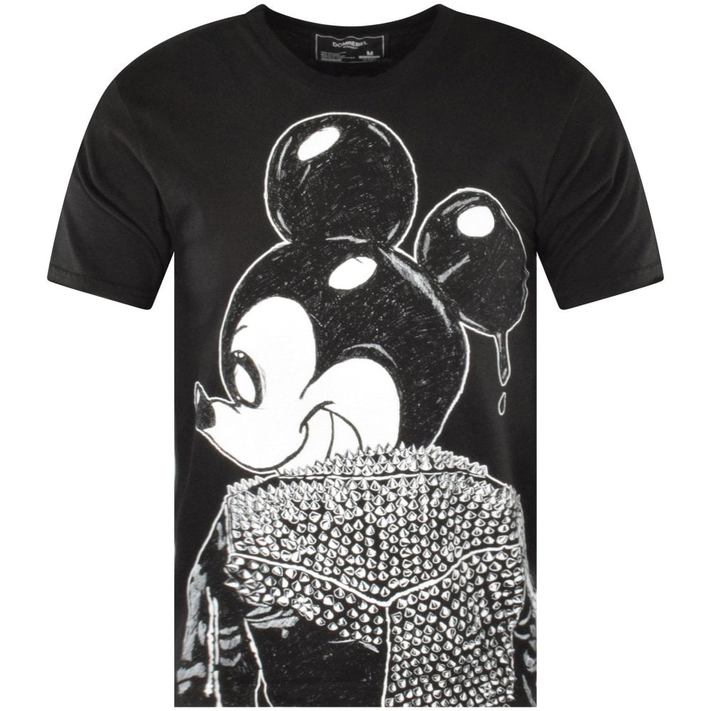 black printed and studded mickey mouse t-shirt domrebel