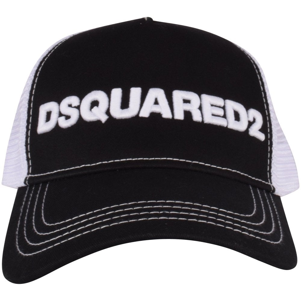 DSQUARED2 Black/White Mesh Logo Cap Front