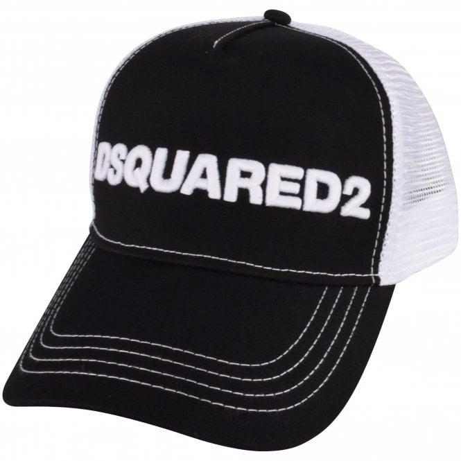 DSQUARED2 Black/White Mesh Logo Cap Side