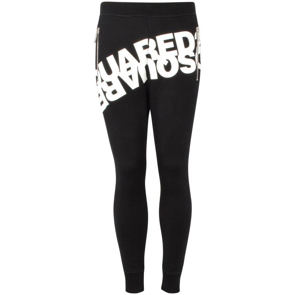 black sweatpants with white DSQUARED2 mirror logo