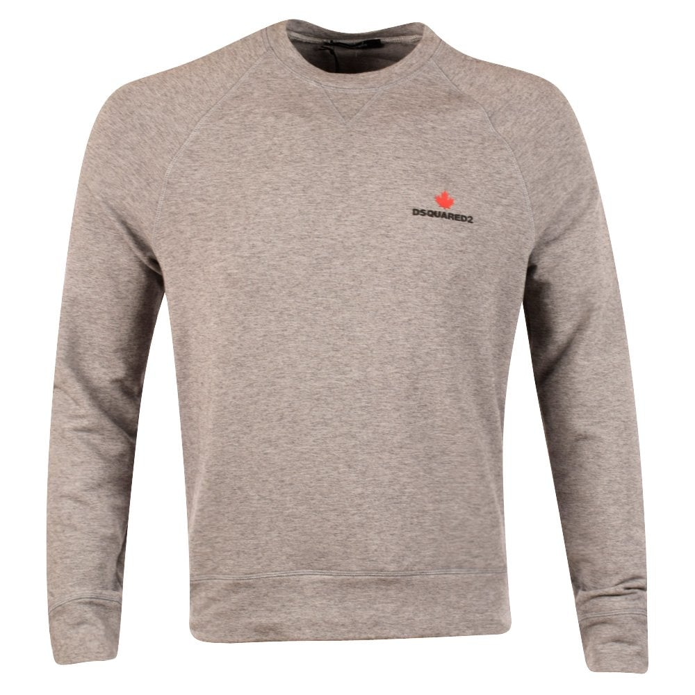 6f7d66b04819 DSQUARED2 Grey Crew Neck Maple Leaf Sweatshirt - Men from ...