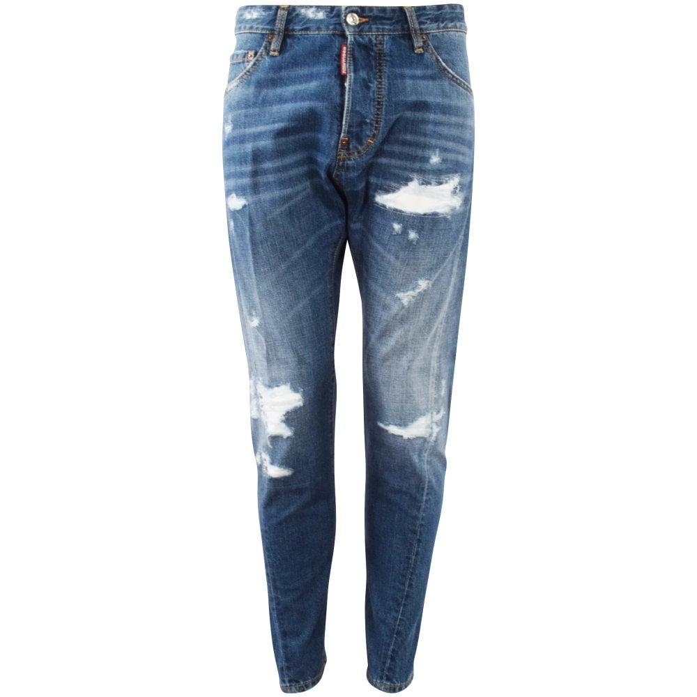 blue distressed men's jeans