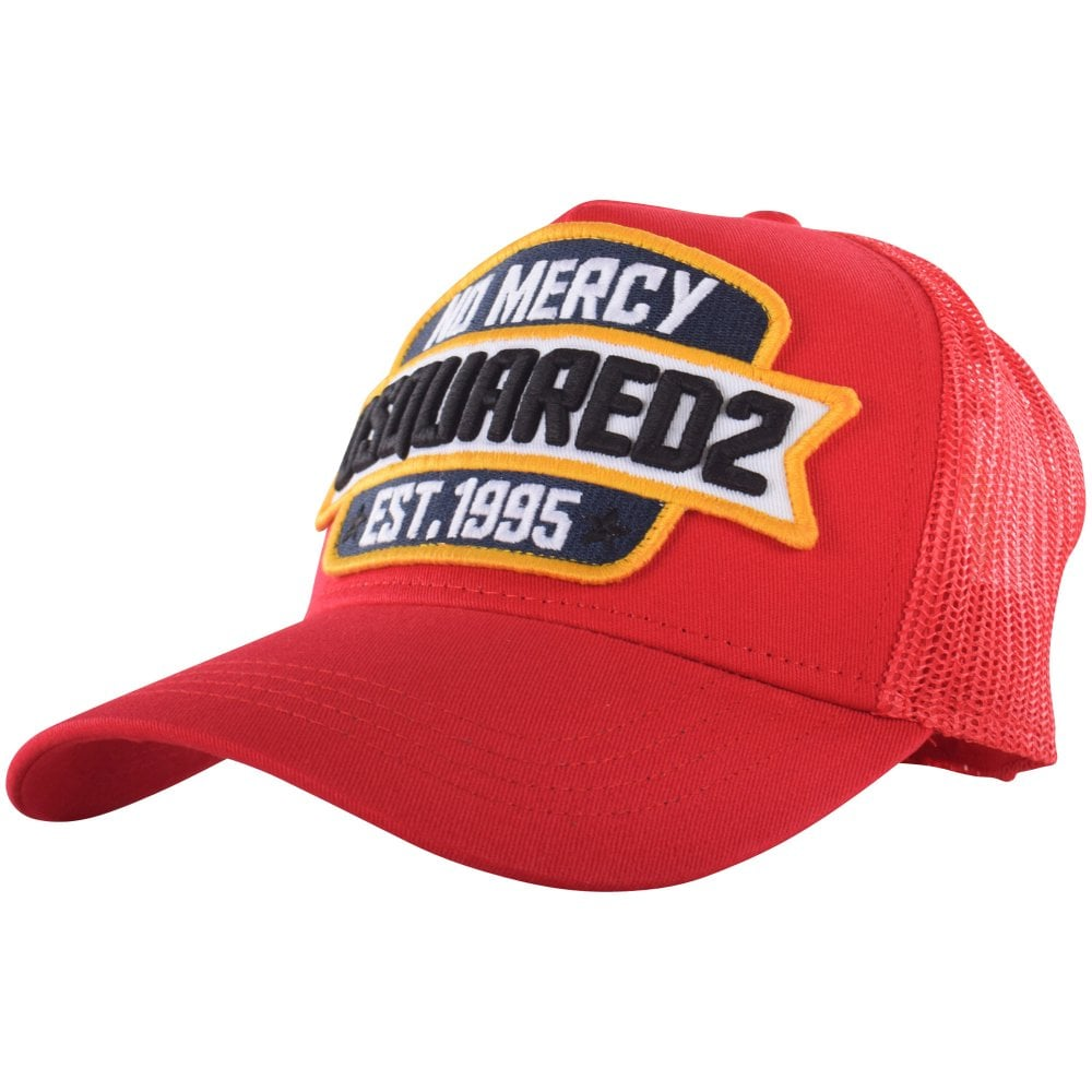 2fe4ddf252d8fd DSQUARED2 Red 'No Mercy' Embroidered Slogan Cap - Men from ...