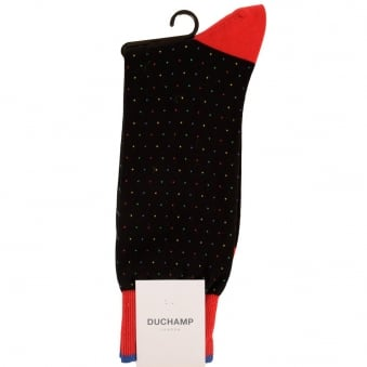Duchamp London Black/Red Spotted Socks