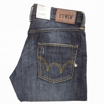 Edwin Dark Blue 12OZ Denim Blue Dawn Used Wash Relaxed Tapered Jeans