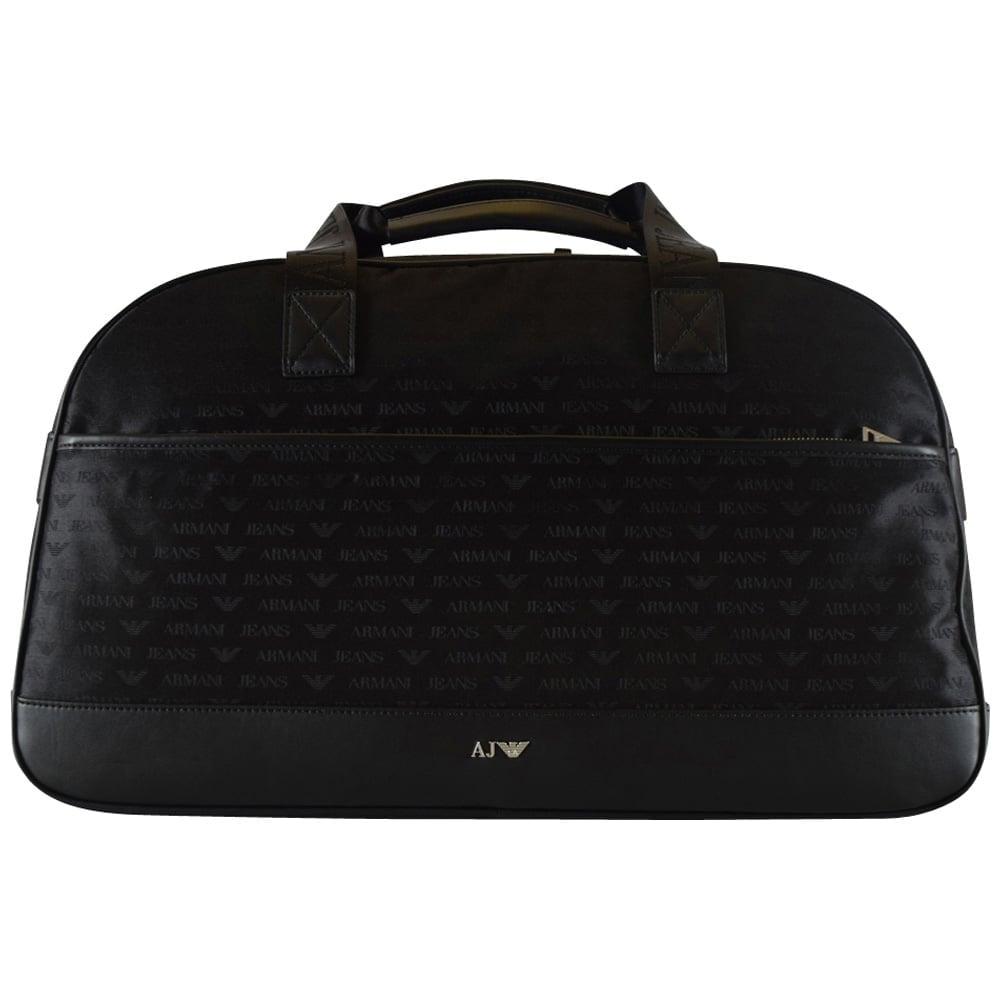 2046baab7165 EMPORIO ARMANI Armani Jeans Large Black Nylon All Over Logo Holdall ...