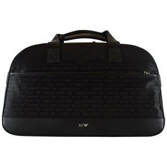 Armani Jeans Large Black Nylon All Over Logo Holdall