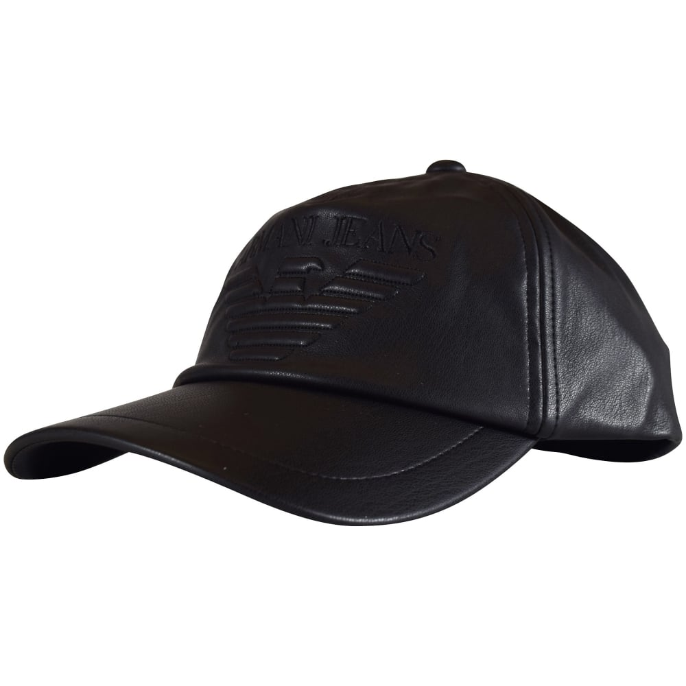 03ce3c80 EMPORIO ARMANI Emporio Armani Black Faux Leather Baseball Cap ...
