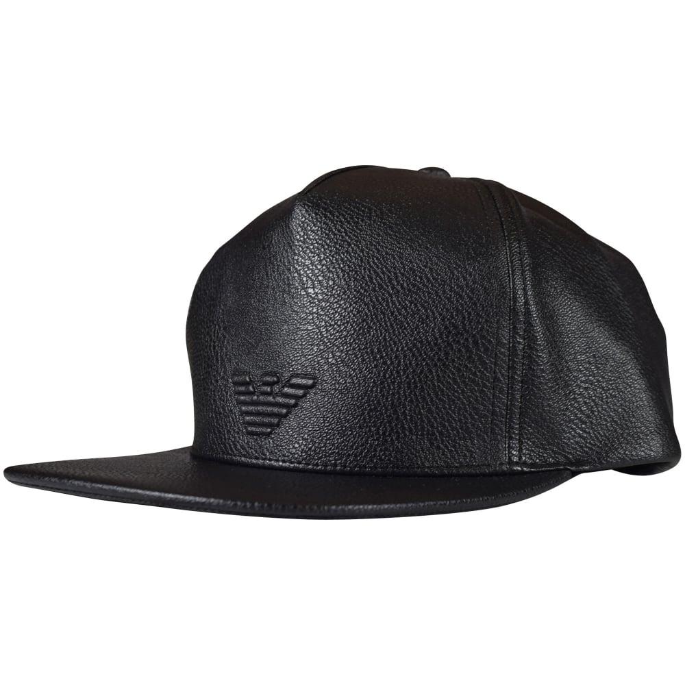 004f2598 EMPORIO ARMANI Emporio Armani Black Faux Leather Logo Strapback Cap ...
