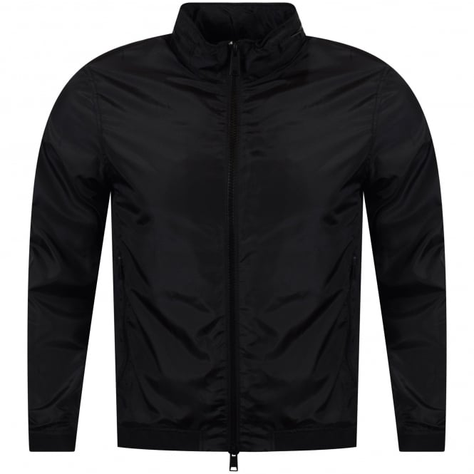 EMPORIO ARMANI Black Lightweight Arm Logo Zip Jacket