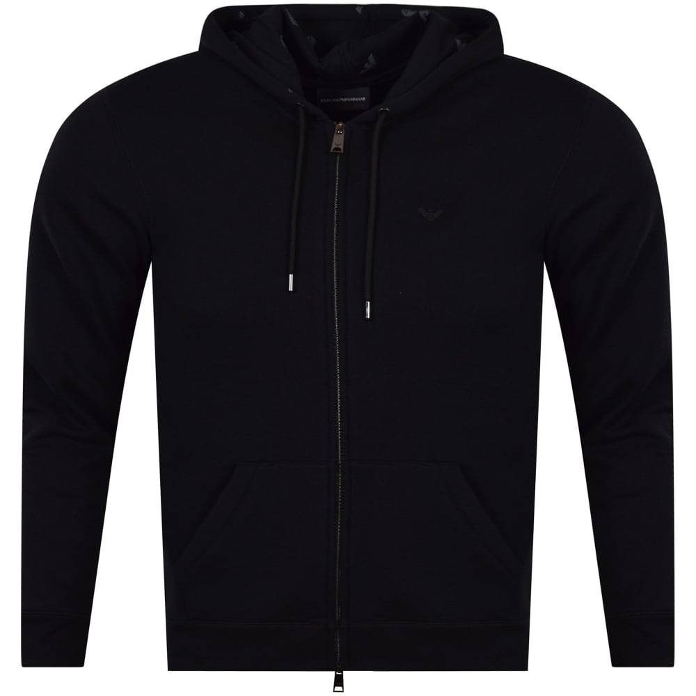 6fd542587b9d7 EMPORIO ARMANI Black Logo Zip Through Hoodie - Men from ...