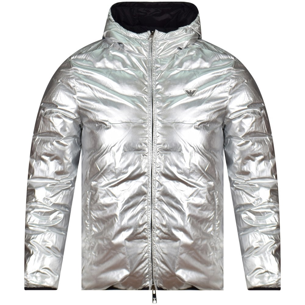 4beff8c3981d EMPORIO ARMANI Black Silver Reversible Padded Jacket - Men from ...