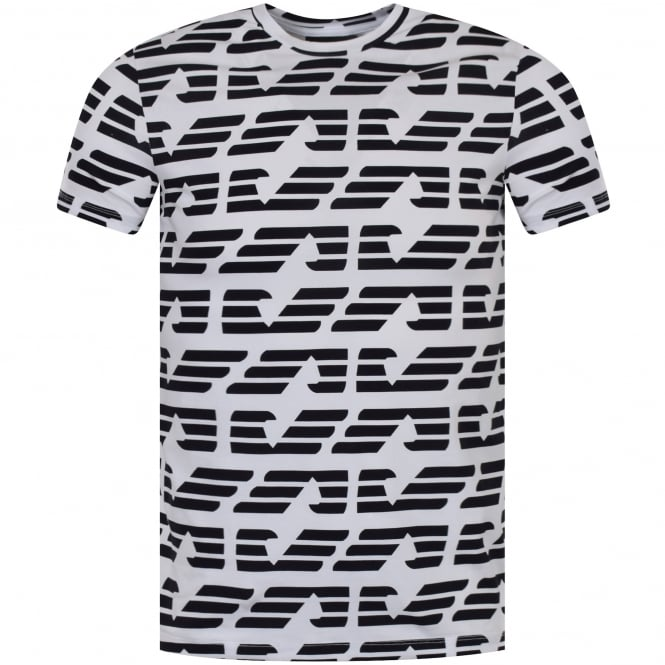 EMPORIO ARMANI Black/White All Over Logo Print T-Shirt
