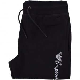 Emporio Armani Black/White Signature Text Logo Joggers