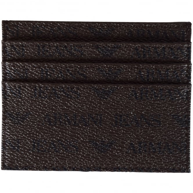 EMPORIO ARMANI Brown Leather Print Card Holder