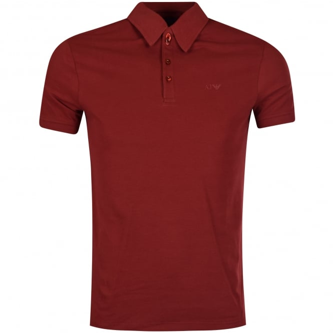 EMPORIO ARMANI Burgundy Short Sleeved Polo Shirt
