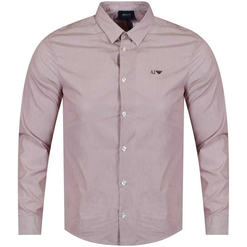 929edade4c55a0 EMPORIO ARMANI Emporio Armani Burgundy/White Riga Stripe Shirt - Men ...