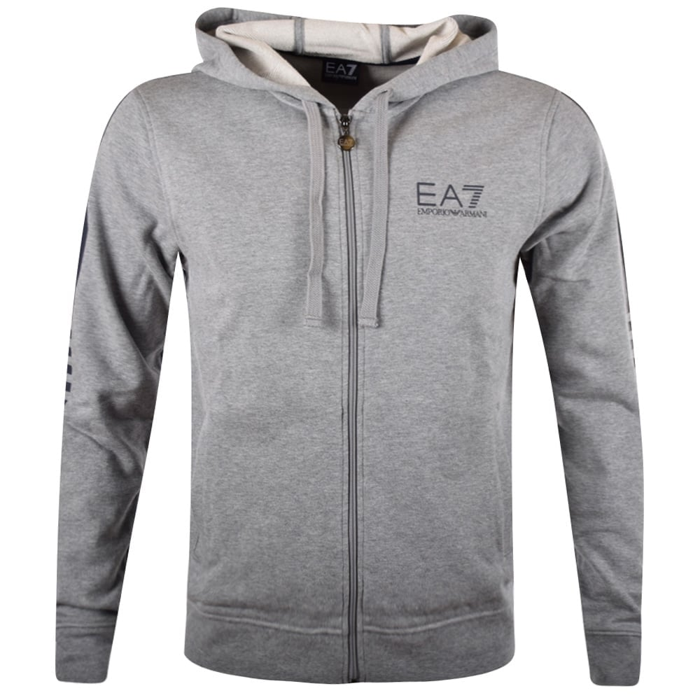 6f1ecc1195c EMPORIO ARMANI EA7 Emporio Armani EA7 Grey Logo Zip Through Hoodie ...