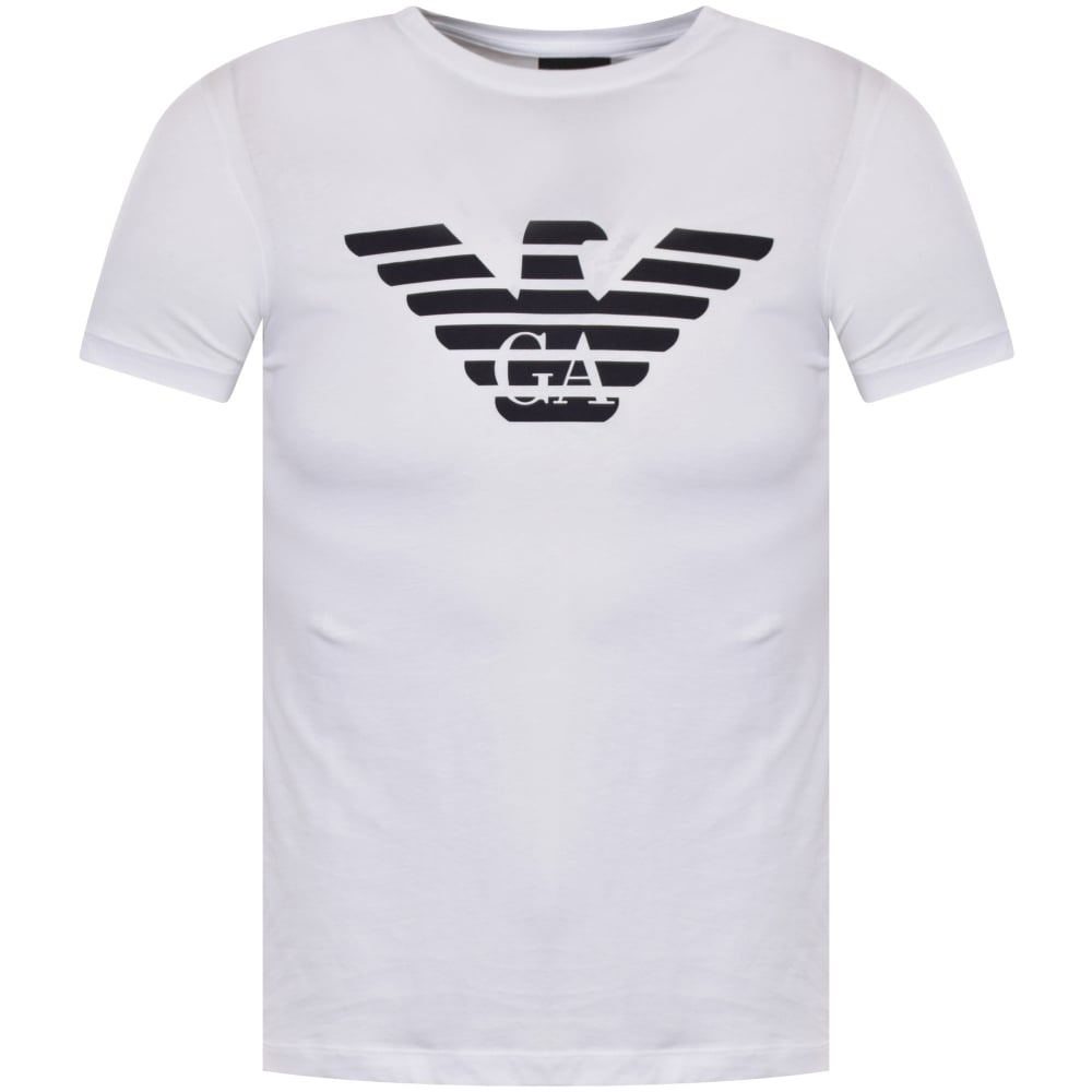 emporio armani emporio armani eagle logo t shirt in white men from brother2brother uk. Black Bedroom Furniture Sets. Home Design Ideas