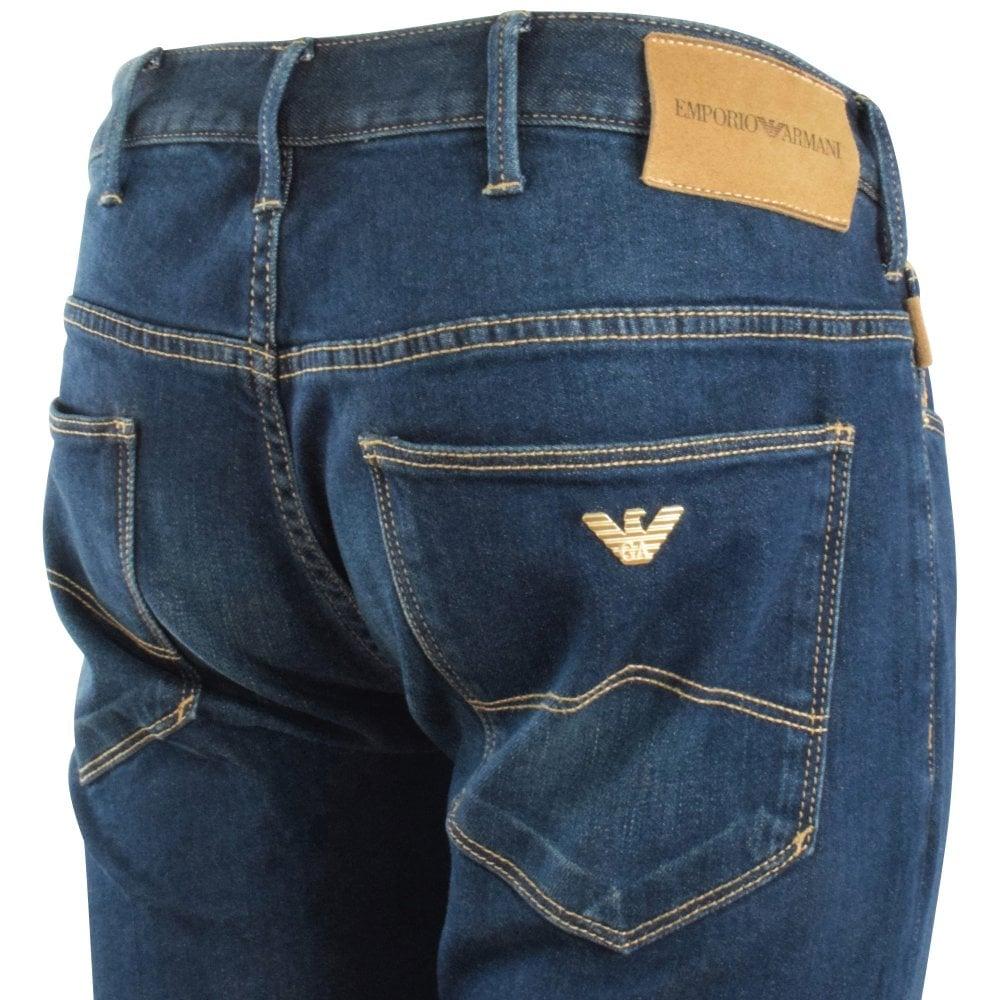 rear of dark blue armani jeans J06