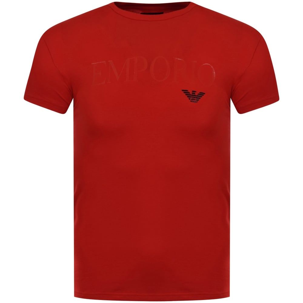 Emporio armani emporio armani red text logo t shirt men for Photo t shirts with text