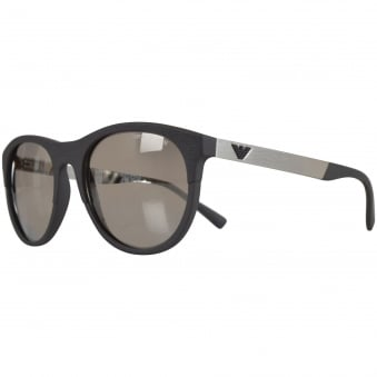 Emporio Armani Sunglasses Matte Grey Curved Wayfarer Sunglasses