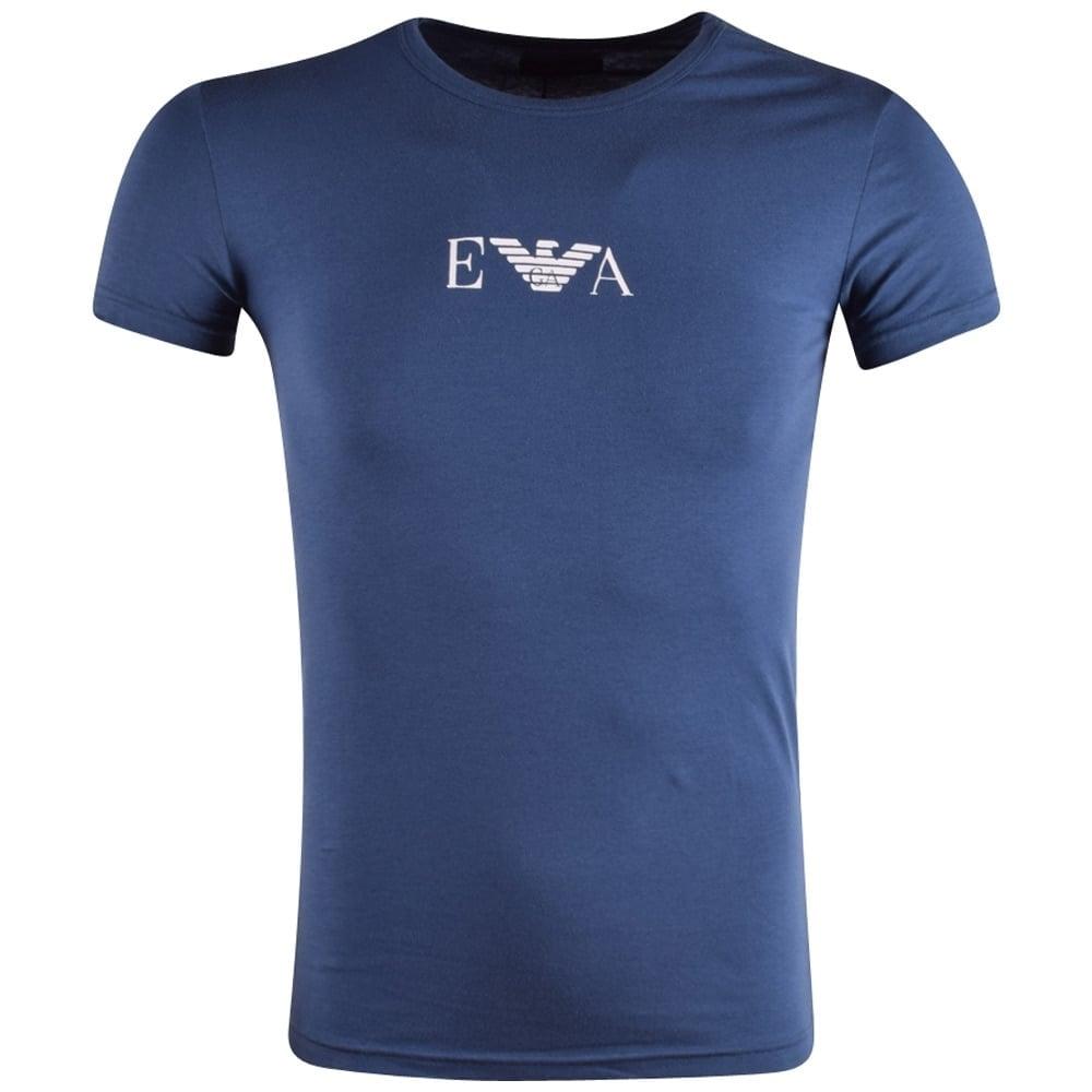 4fdfdd6a EMPORIO ARMANI Emporio Armani Underwear Blue Front Logo T-Shirt ...