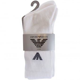 Emporio Armani White 2 Pack Socks