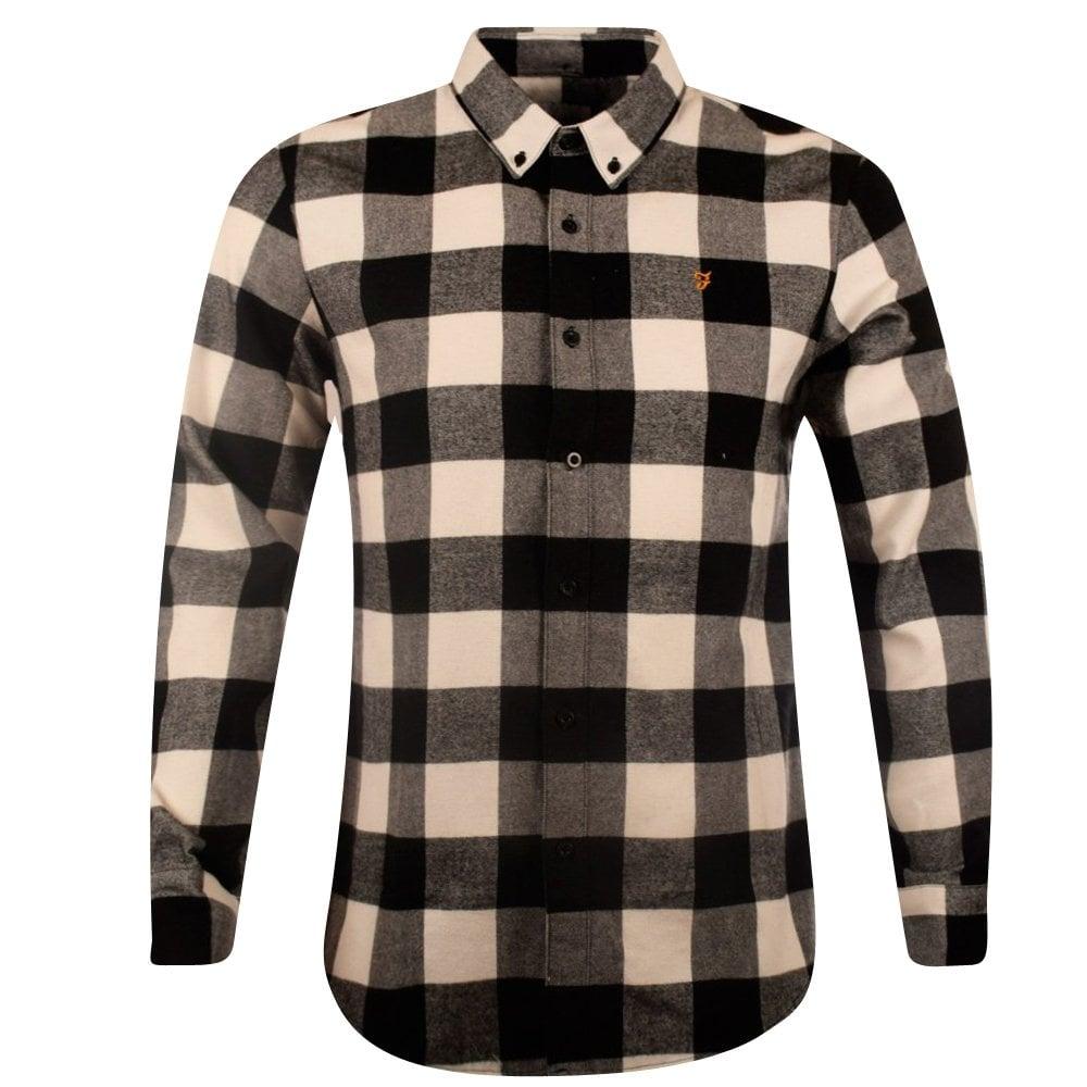 Farah Vintage Farah Black White Check Flannel Shirt