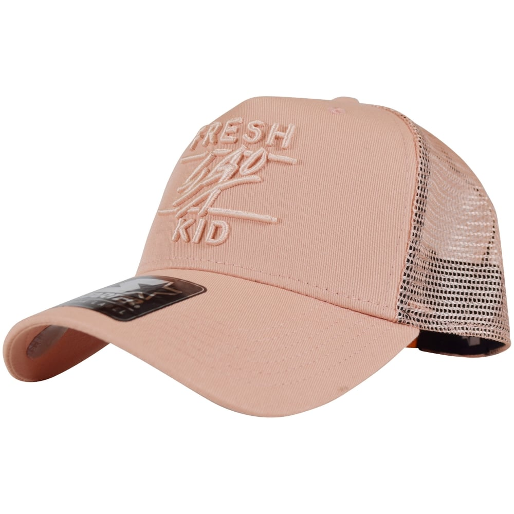 FRESH EGO KID Fresh Ego Kid Peach Pink Mesh Trucker Cap - Men from ... 63a9b482177