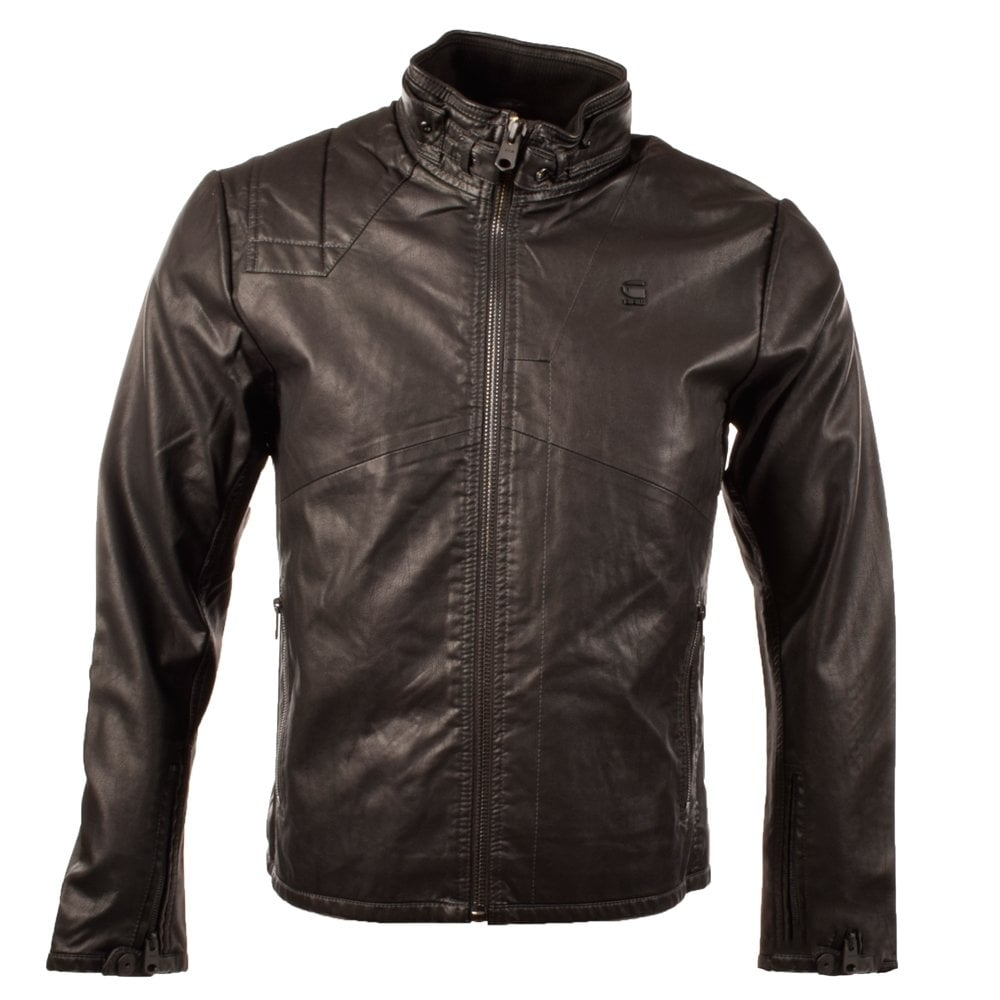 g star g star black force across leather biker jacket. Black Bedroom Furniture Sets. Home Design Ideas