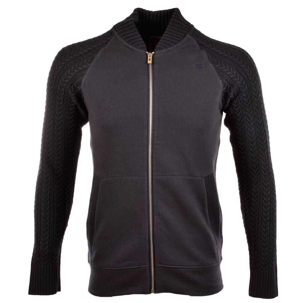 g star g star navy blue geored knit mix zip up sweater g. Black Bedroom Furniture Sets. Home Design Ideas