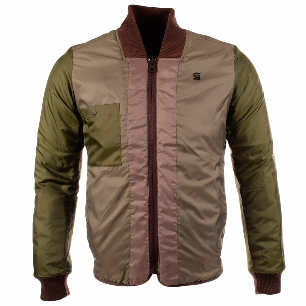 online retailer b2f6b 2ae3d Raw Clack Reversible Brown/Khaki Bomber Jacket