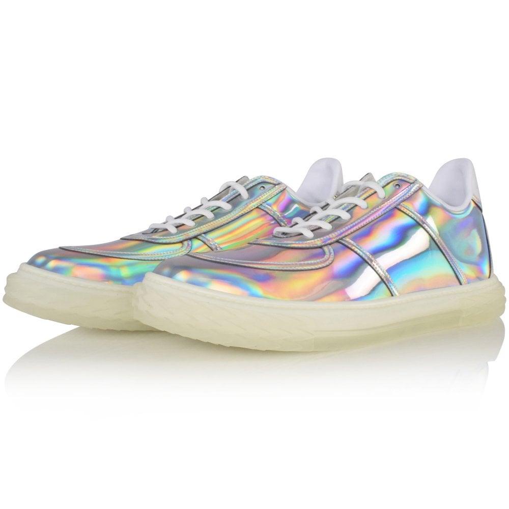 holographic iridescent men's designer trainers by giuseppe zanotti
