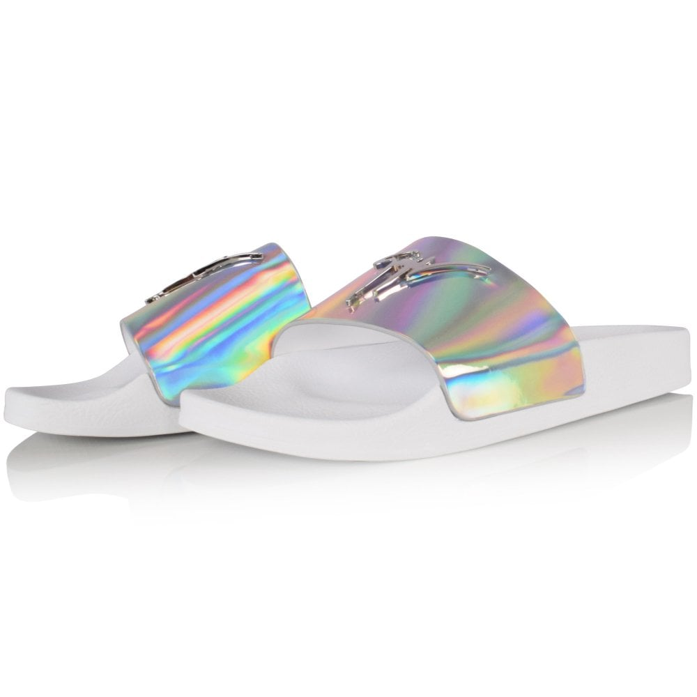 white and holographic/silver sliders