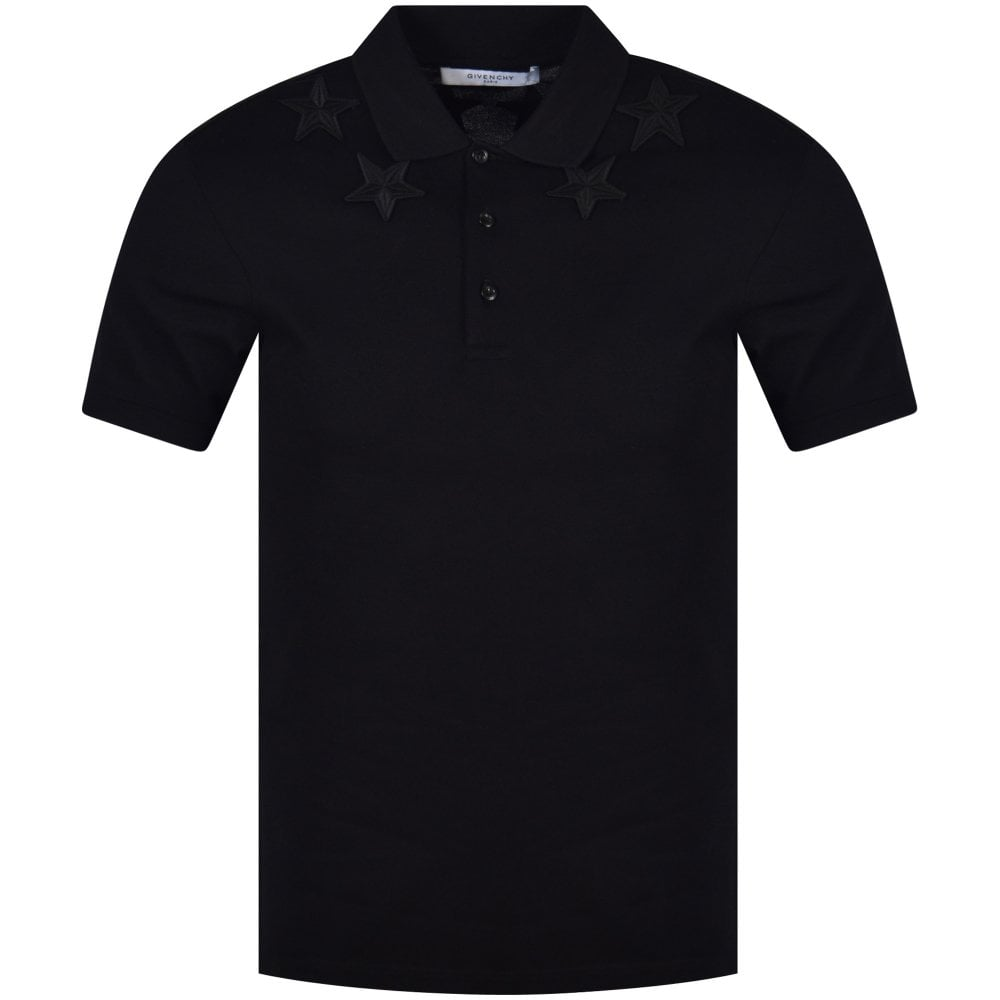 bed857e1 GIVENCHY Black Embroidered Star Polo Shirt - Department from ...