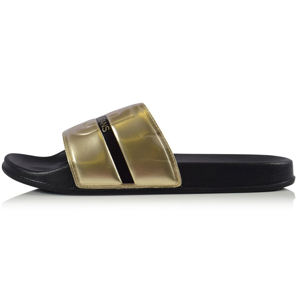 d7dc49a0405c VERSACE JEANS Gold Black VJ Logo Sliders