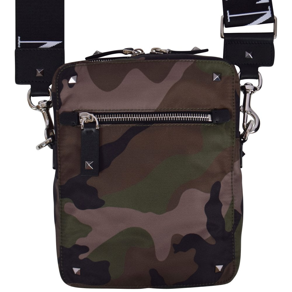 e1d92d36dc649 VALENTINO Green Camo VLTN Cross Body Bag - Men from Brother2Brother UK