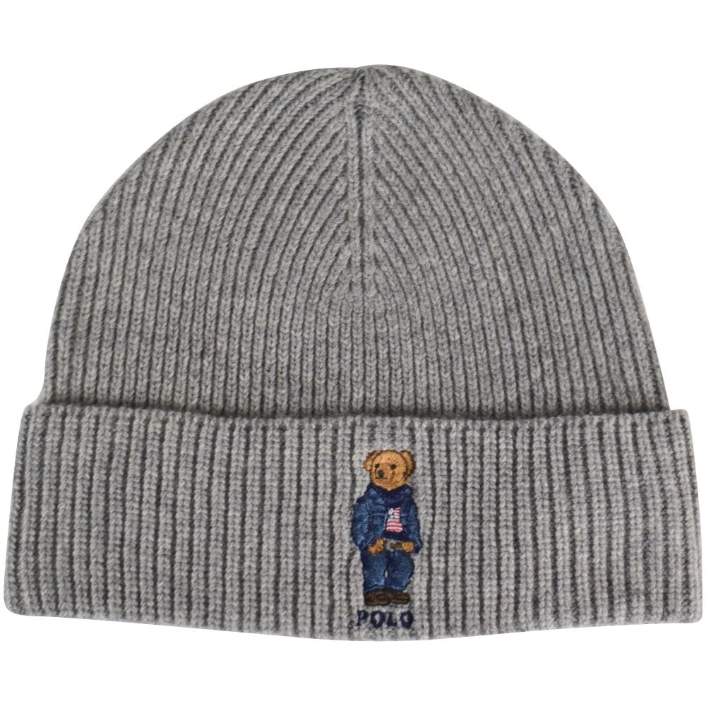POLO RALPH LAUREN Grey Bear Logo Beanie - Men from Brother2Brother UK 00bf7b986b8